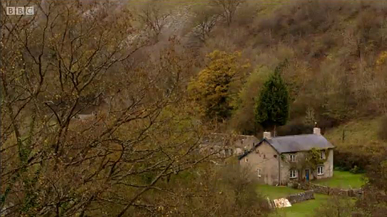 Netherdale Farm as seen from above in Monsal Dale