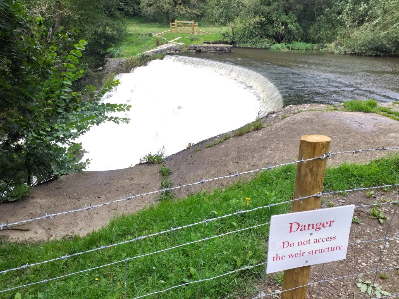 New fencing now seals off the weir on both banks of the river in the Monsal valley