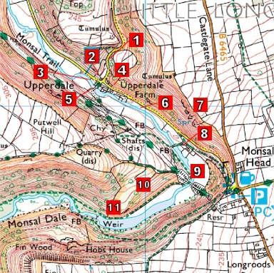 Map of Mad Dog filming locations in Monsal Dale, Derbyshire