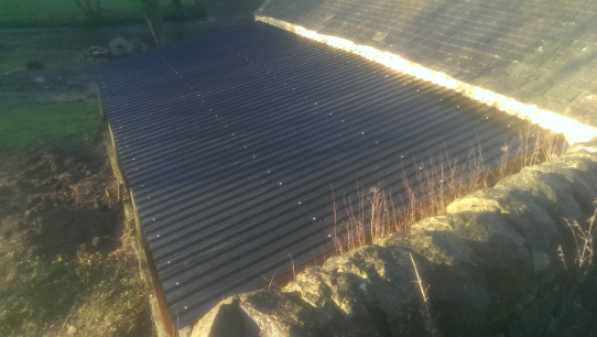 The lean-to roof at Upperdale House, Monsal Dale, now repaired - January 2016