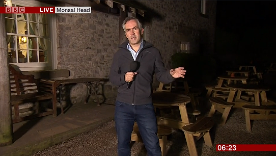 Tim Muffett, of the BBC Breakfast news team, reporting from the Monsal Head Hotel bar early on 11 January 2019