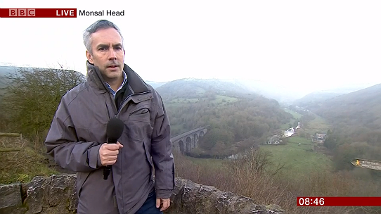Tim Muffett, of the BBC Breakfast news team, reporting from Monsal Head 11 January 2019
