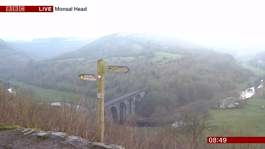 The Monsal Valley vista as seen during the report on BBC Breakfast on 11 January 2019