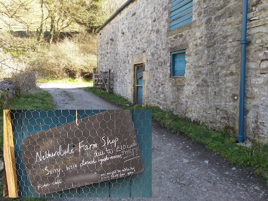 The farm shop closure sign at Netherdale Farm