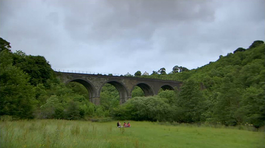 Looking back towards the viaduct from the Monsal valley floor